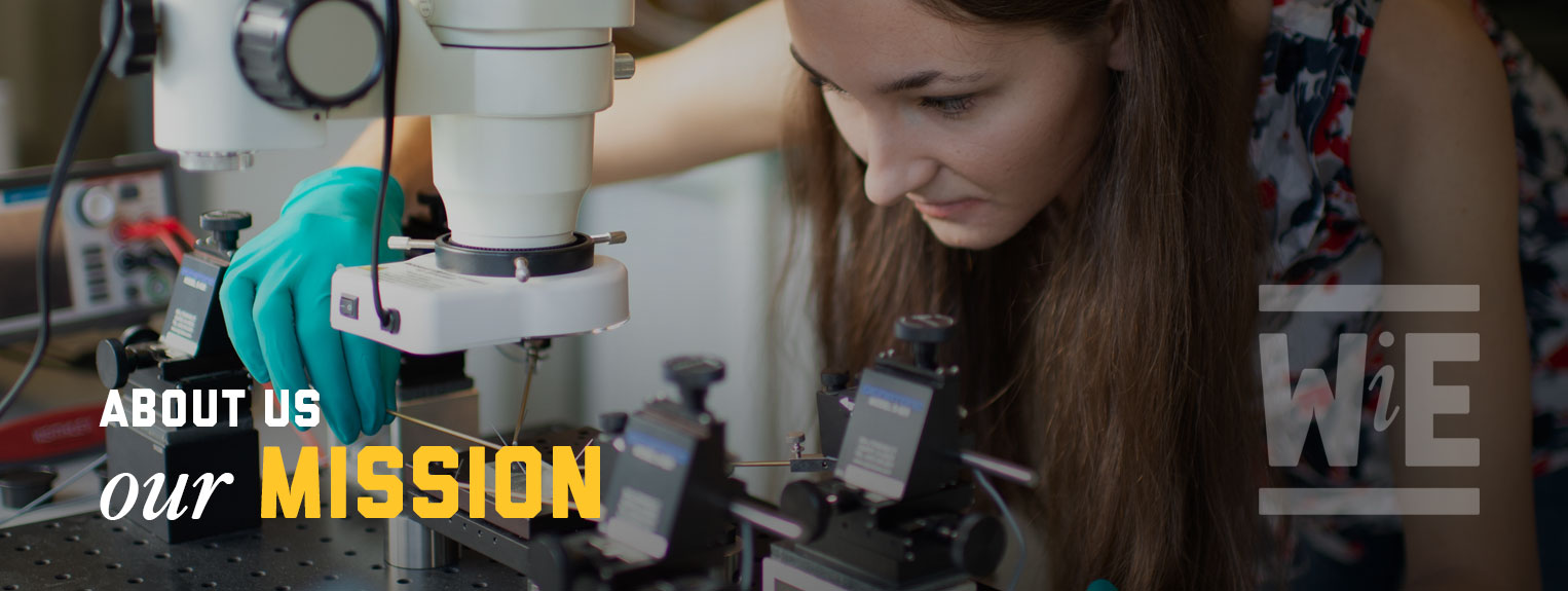 WiE About Us: Our Mission. An engineering student works in the lab using a microscope.