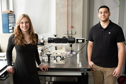 Biomedical engineering students Brinna Cathey and Sofian Obaid, working with Dr. Igor Efimov, are the first authors on a paper p